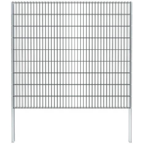 vidaXL 2D Gabion Fence Galvanised Steel 2.008x1.83 m 2 m (Total Length) Grey - Grey