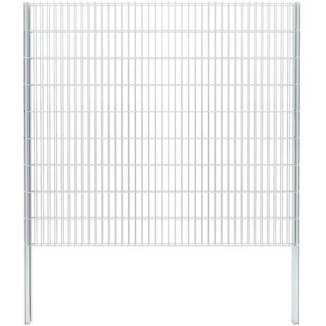 vidaXL 2D Gabion Fence Galvanised Steel 2.008x1.83 m 6 m (Total Length) Silver - Silver