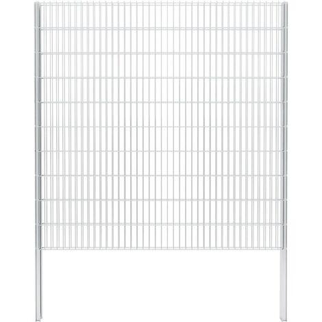 vidaXL 2D Gabion Fence Galvanised Steel 2.008x2.03 m 14 m (Total Length) Silver - Silver
