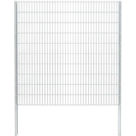 vidaXL 2D Gabion Fence Galvanised Steel 2.008x2.03 m 8 m (Total Length) Silver - Silver