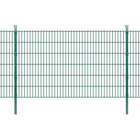 vidaXL 2D Garden Fence Panel & Posts Green Outdoor Farm Field Enclosure Garden Barrier Balcony Terrace Privacy Protector Pet Enclosure Multi Sizes