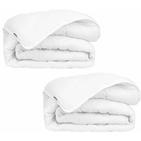 vidaXL 2x 4 Seasons Duvet Durable Machine Washable Bedroom Bedding Double Layer Hollow Fibre Filling Quilt Sheet Multi Sizes Multi Standards