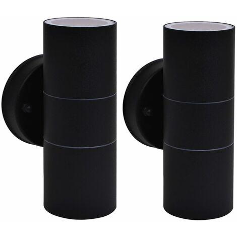 vidaXL 2x Appliques Murales d'Extérieur Acier Inoxydable Lampes Murales de Terrasse Eclairage de Patio Lumière de Jardin Multicolore
