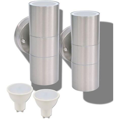 vidaXL 2x Appliques Murales LED d'Extérieur Inox vers le Bas/Haut Lampes Murales Eclairage de Patio Lumière de Jardin Terrasse Multicolore
