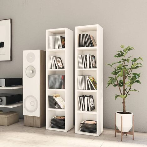 vidaXL 2x Armoires à CD Aggloméré Etagère à CD Meuble de Rangement avec 5 Compartiments Bureau Salon Maison Intérieur Mobilier Multicolore