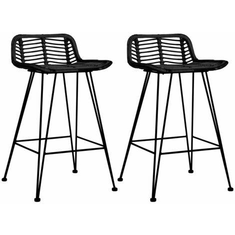 vidaXL 2x Bar Chairs Dining Room Furniture Kitchen High Seats Lounge Chairs Pub Bistro Counter Stools Natural Rattan Natural/Black
