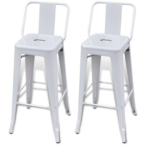vidaXL 2x Bar Stools Steel Counter Kitchen Pub Stools Breakfast Seats Restaurant Dining Room Home Furniture Decoration Multi Colours