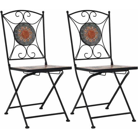 vidaXL 2x Chaises de Bistrot Céramique Mosaïque Chaises Pliantes Chaises de Jardin Chaises de Balcon Chaises de Terrasse Multicolore