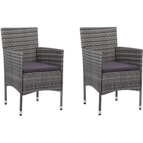 vidaXL 2x Chaises de Jardin Résine Tressée Chaises de Salle à Manger Chaises de Cuisine Chaises à Dîner Chaises de Terrasse Balcon Extérieur Noir/Gris