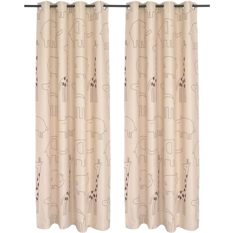 vidaXL 2x Children's Printed Blackout Curtain Window Treatment Kids Thermal Blind Lined Drapes 140x240cm Multi Colours Multi Patterns
