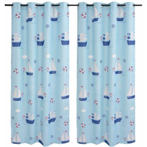 vidaXL 2x Cortinas Opacas con Estampado de Niños Ventanas Infantil Decoracion Salón Dormitorio Habitación Casa 140x240cm Azul/Rosa/Beige