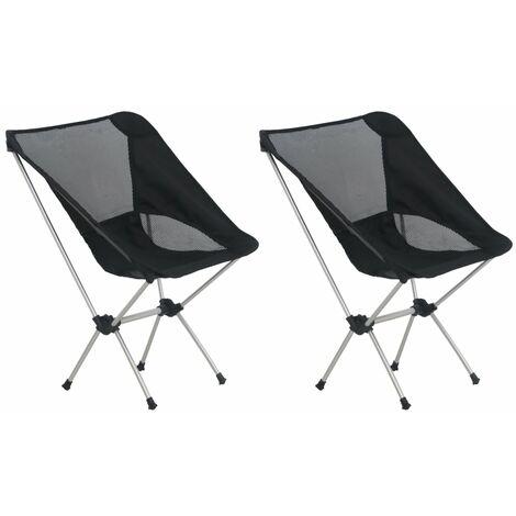 "main image of ""vidaXL 2x Folding Camping Chairs with Carry Bag 54x50x65 cm Aluminium - Black"""