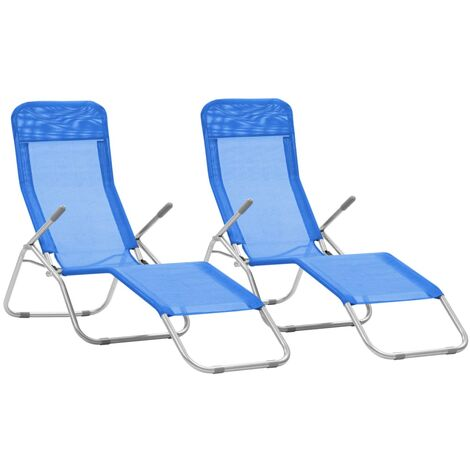 vidaXL 2x Folding Sunloungers with Swing Frame Textilene Daybed Multi Colours