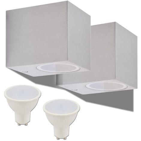 vidaXL 2x Lámparas de Pared de Jardín Aplique de Exterior Luces de Patio Parque Luz LED de Aluminio Descendente/Ascendente Cuadrada/Redonda