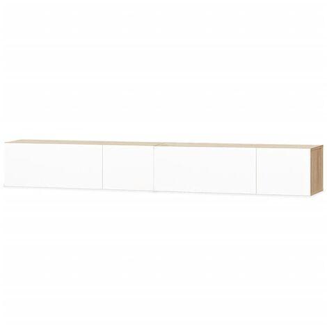 vidaXL 2x Meuble TV Aggloméré Armoire Basse Meuble Divertissement avec 2 Compartiments Multimédia Salon Chambre Maison Intérieur Multicolore