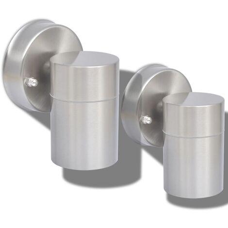 vidaXL 2x Outdoor Wall Lights Outdoor Lighting Wall Mounted Garden Patio Light Fixture Lamps Stainless Steel Multi Colours Multi Modes