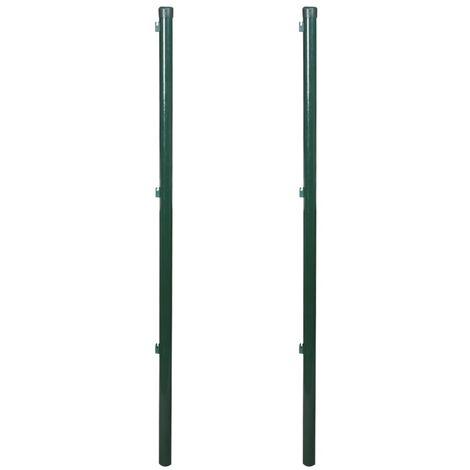 vidaXL 2x Postes para Valla Hierro Verde Palo para Cerca 115/150/175/200 cm