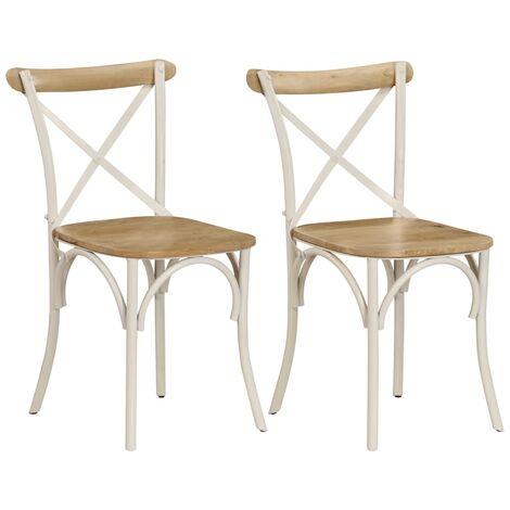 vidaXL 2x Solid Mango Wood Cross Chairs Kitchen Dining Room Dinner Wooden Dinette Breakfast Seat Living Room Interior Indoor Multi Colours