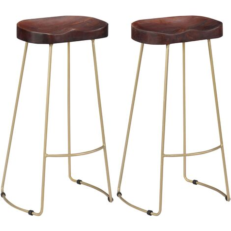 vidaXL 2x Solid Mango Wood Gavin Bar Stools Wooden Pub Kitchen Dining Dinner Room Chair Seating Seat Sitting Furniture Multi Sizes