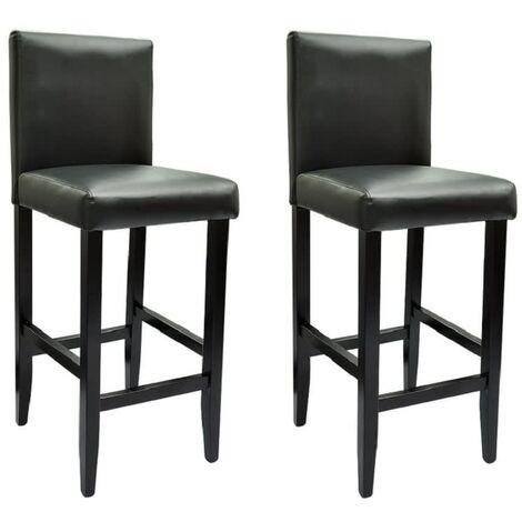 vidaXL 2x Tabourets de Bar Similicuir Chaises de Pub Sièges de Bistro Tabourets de Comptoir Chaises de Salle à Manger Cuisine Maison Multicolore