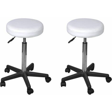 vidaXL 2x Taburetes de Oficina Mobiliario Muebles Decoración Casa Hogar Diseño Estético Ergonómico Duraderos Cuero Sintético 35,5x98 cm Multicolor