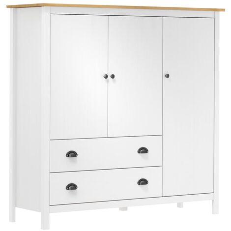 vidaXL 3-Door Wardrobe Hill Range 142x45x137 cm Solid Pine Wood - Brown