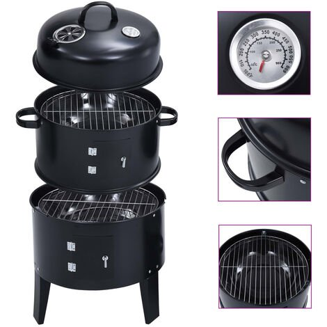 "main image of ""vidaXL 3-in-1 Charcoal Smoker BBQ Grill 40x80 cm - Black"""