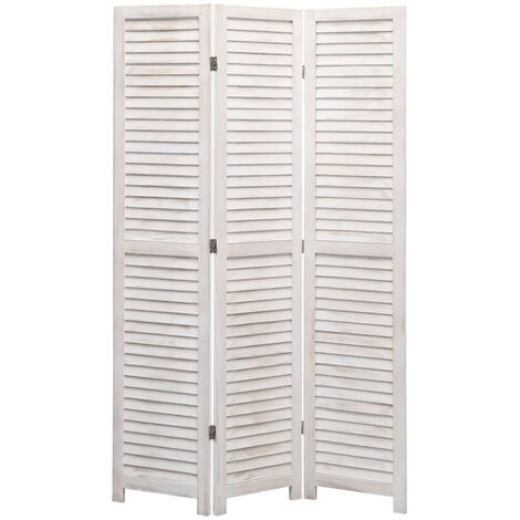 "main image of ""vidaXL 3-Panel Room Divider White 105x165 cm Wood - White"""