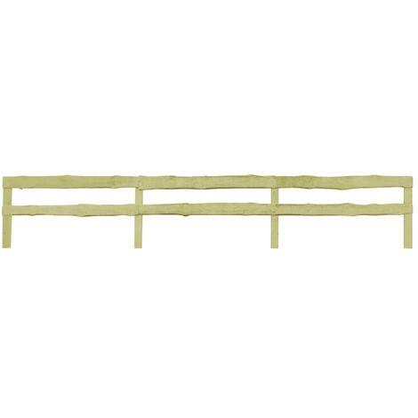 vidaXL 3 pcs 2-Rail Garden Fences Impregnated Pinewood 510x90 cm - Brown
