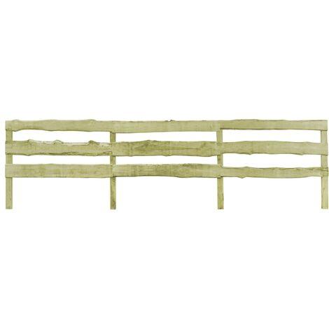 vidaXL 3 pcs 3-Rail Garden Fences Impregnated Pinewood 510x120 cm - Brown