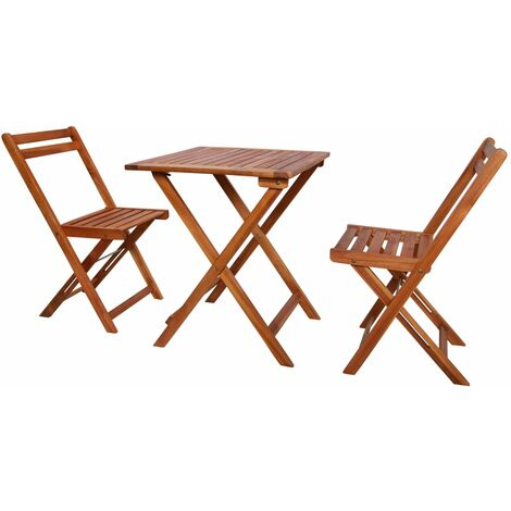 vidaXL 3 Piece Folding Bistro Set Solid Acacia Wood - Brown