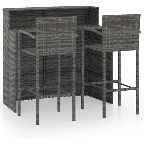 "main image of ""vidaXL 3 Piece Garden Bar Set Grey - Grey"""