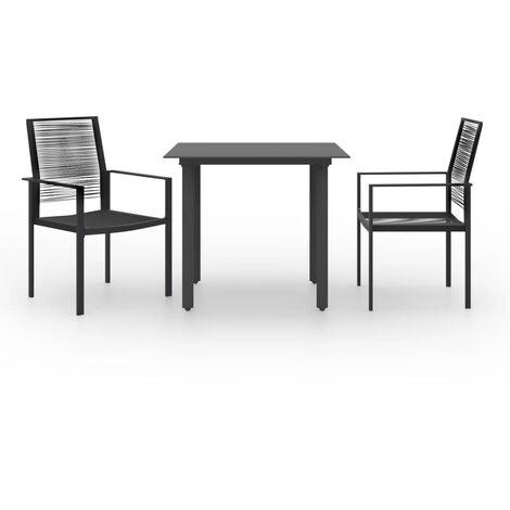 vidaXL 3 Piece Garden Dining Set - Black