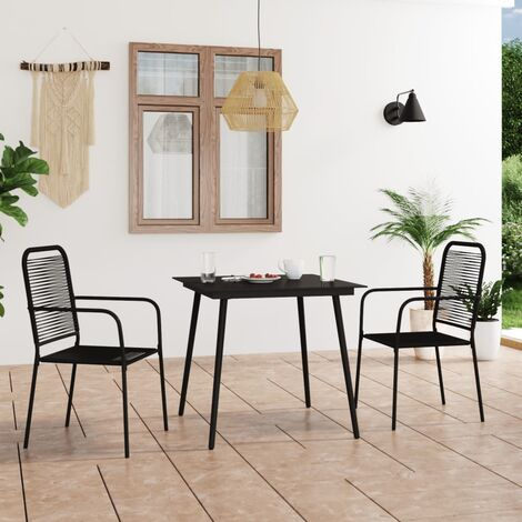 vidaXL 3 Piece Garden Dining Set Cotton Rope and Steel Black - Black