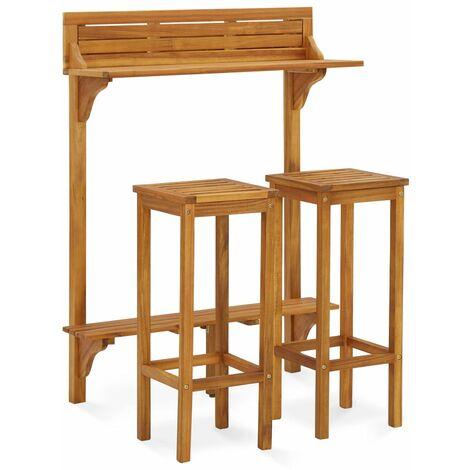 vidaXL 3 Piece Garden Furniture Set Solid Acacia Wood - Brown