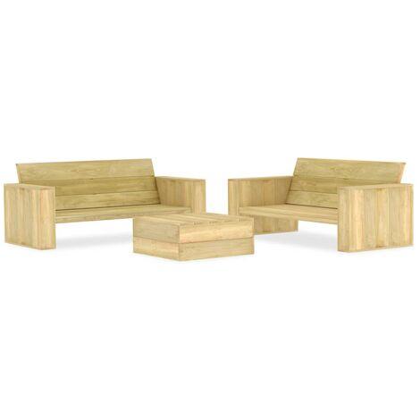 vidaXL 3 Piece Garden Lounge Set Impregnated Pinewood - Brown
