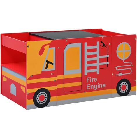 vidaXL 3 Piece Kids Chair Table Set Fire Truck Design Wood - Red