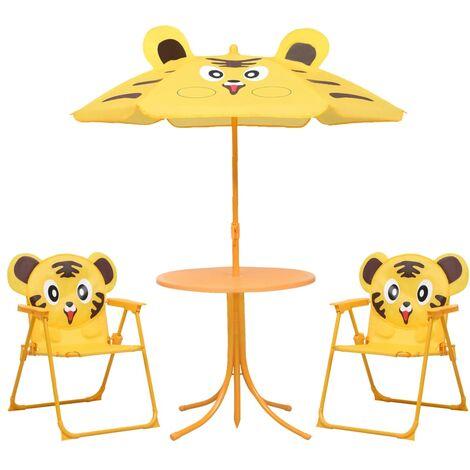 "main image of ""vidaXL 3 Piece Kids' Garden Bistro Set with Parasol Yellow - Yellow"""