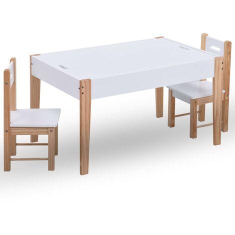 vidaXL 3 Piece Kids Storage Chalkboard Table Chair Set Black and White - White