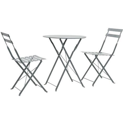 vidaXL 3 Piece Outdoor Bistro Set Steel Furniture Stool Table Multi Colours