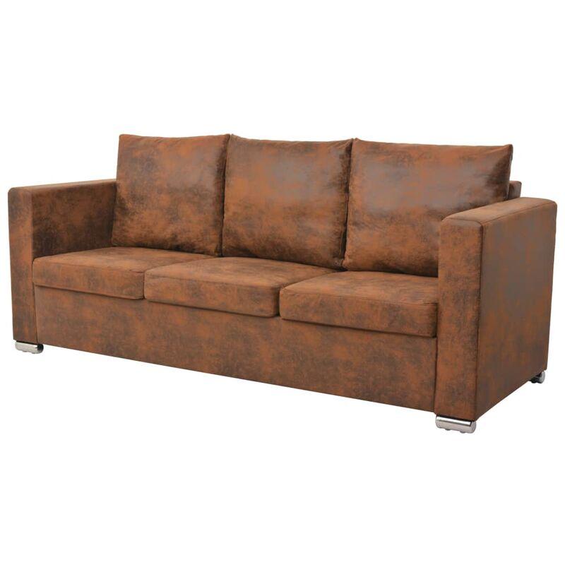 3-Sitzer Sofa 191 x 73 x 82 cm Künstliches Wildleder - VIDAXL