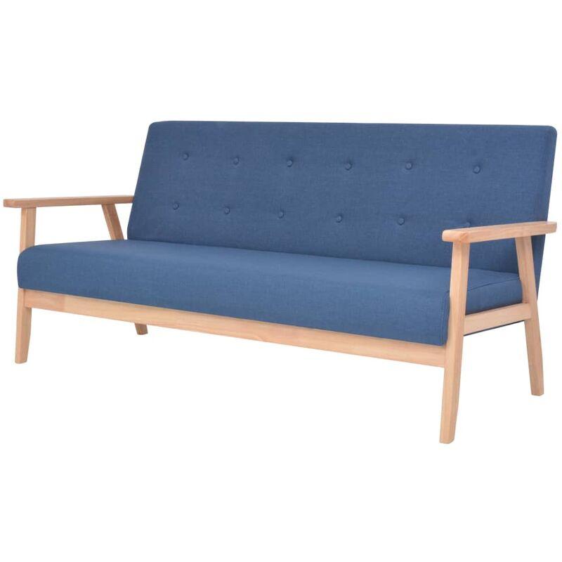 3-Sitzer-Sofa Stoff Blau - VIDAXL