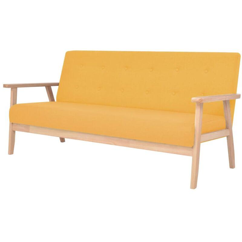 3-Sitzer Sofa Stoff Gelb - VIDAXL