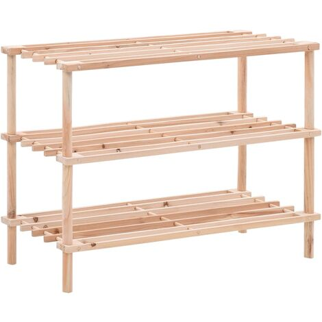 vidaXL 3-Tier Shoe Rack Solid Fir Wood - Beige