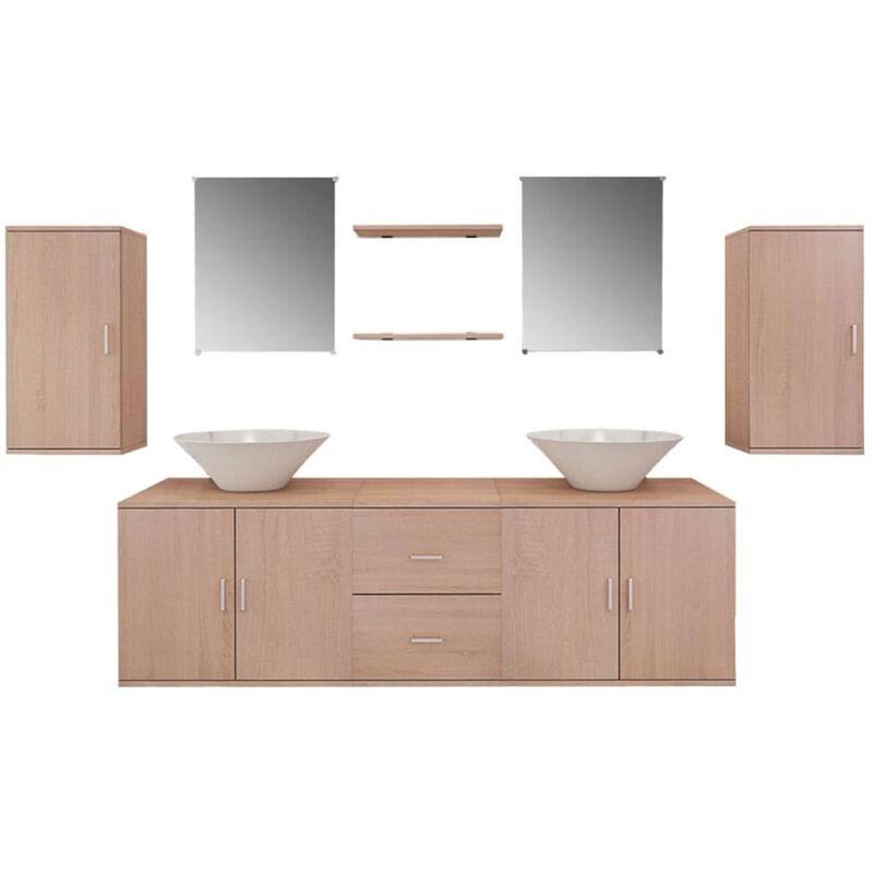 Badmöbel-Set mit Waschbecken Beige 9-tlg. - VIDAXL