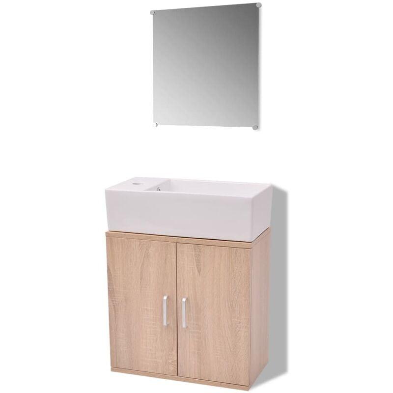 Badmöbel-Set mit Waschbecken Beige 3-tlg.