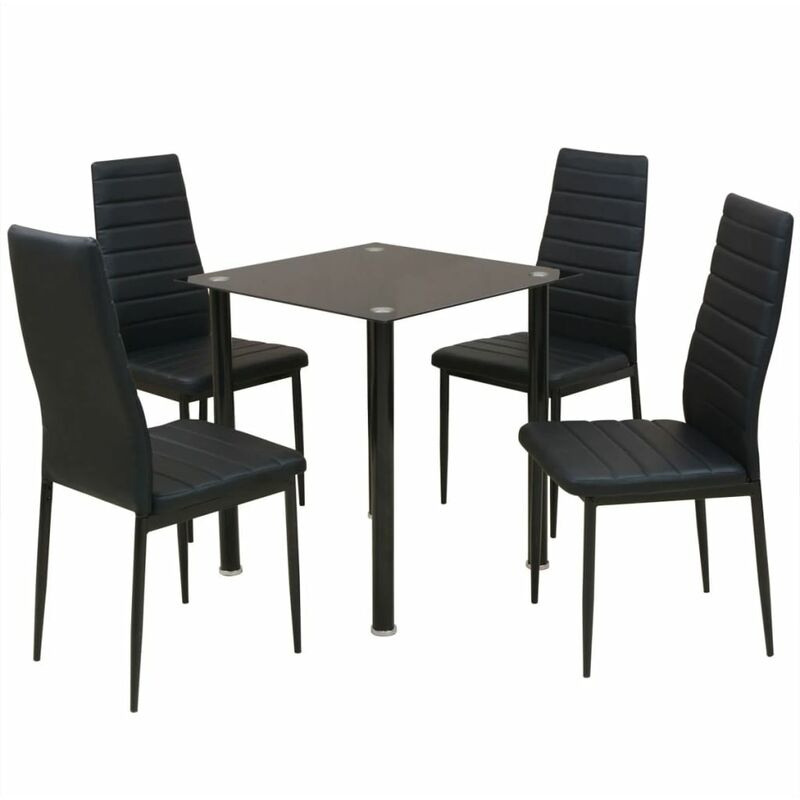 Essgruppe Esstisch mit Stühlen 5-tlg. Schwarz - VIDAXL