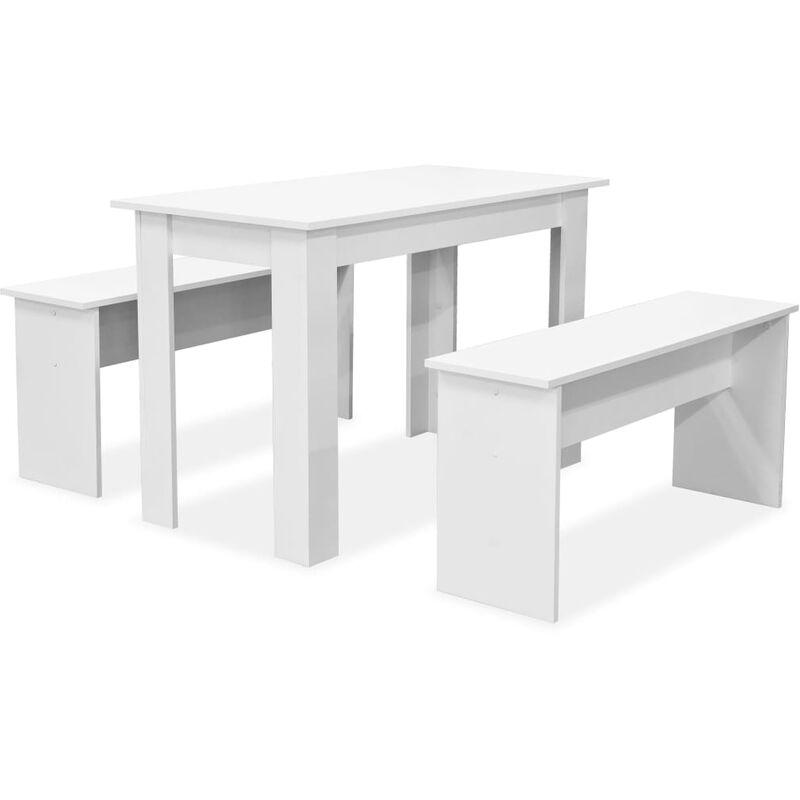 3-tlg. Essgruppe Tisch und Bänke Spanplatte Weiß - VIDAXL