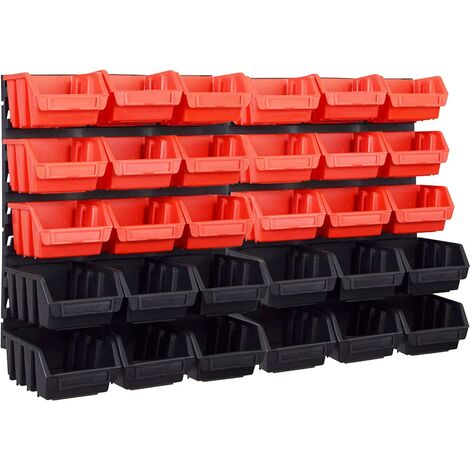 """main image of """"vidaXL 32 Piece Storage Bin Kit with Wall Panels Red and Black - Multicolour"""""""