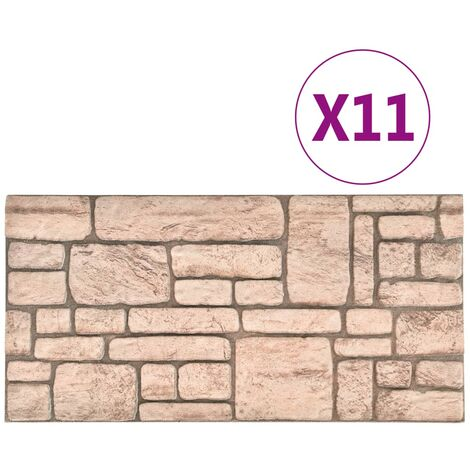 vidaXL 3D Wall Panels with Beige Brick Design 11 pcs EPS - Beige